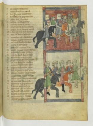 14, jaufre, Chevaliers allant accueillir Jaufre