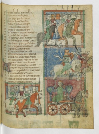 """14, jaufre, Taulat de Rogimon se rendant à la cour d'Arthur. Une des variantedes romans arthuriens,celle de """"Jaufre"""".De facture plus nordique."""