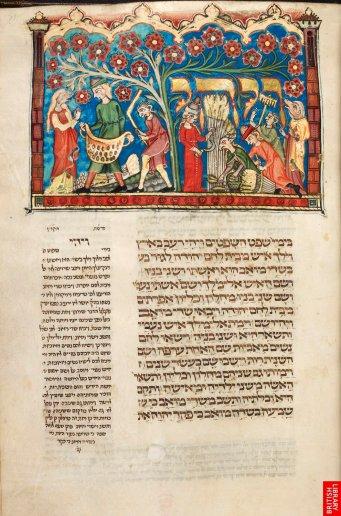 Bible en hebreu de Joseph Kara, 14e. Malgré l'iconoclasme revendiqué de la tradition juive, il existe de remarquables illustrations ; ici le livre de Ruth.