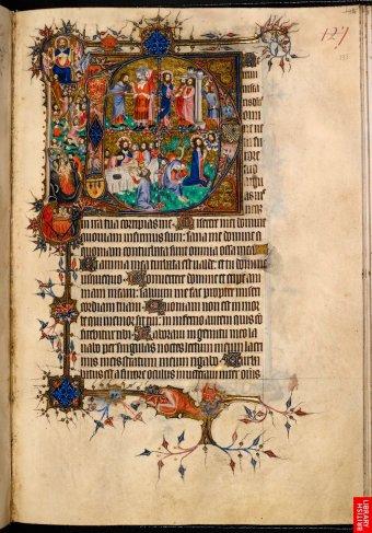 Psautier et livre d'heure du rite anglais de Sarum; magnifique synthèse des entrelacs, lettrines et enluminures figuratives au 14e.