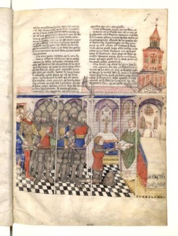 Manuscrit italien, quête du Graal; ici Perceval. Vraisemblablement le même auteur. Ici finesse des couleurs et virtuosité des scènes.