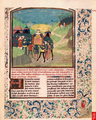 """Alexandre, le plus remarquable des """"chevaliers"""" ; le Roman d'alexandre est l'un des récits les plus diffusé. Ce manuscrit italien du 14e est nettement différent des précédents par sa volonté d'inscrire les scènes dans un espace paysager et naturel."""