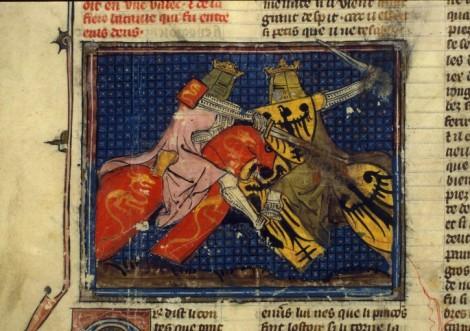 14 saint graal (histoire de Merlin, Paris, Combat d'Arthur et de Rion