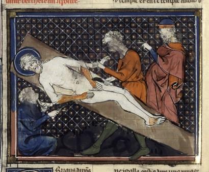 Dans la catégorie des vies de saints du 14e, les martyres comme celui de Barthélémy sont fréquents. La stylisation rend suportable cet écorché vif, tel Marsyas.