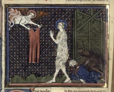 Du même manuscrit, cette Ste Agnès vêtue par un ange bienveillant est moins tragique!!