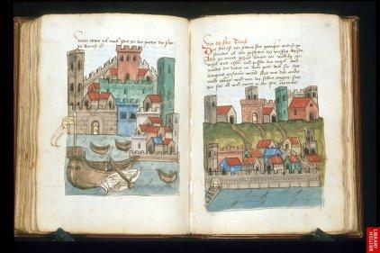 Le livre de voyage ( plus ou moins véridique) de John Mandeville ; thème particulier et illustrations libres anticipant les carnets de voyage.