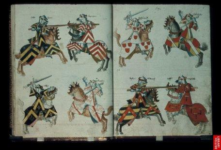 Traité anglais d'héraldique et de chevalerie...il y a des pages et des pages...registre infini des combinaisons de motifs...