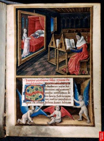 Une autre page du même manuscrit - Malgré les erreurs de perspective, la représentation empirique de l'espace est très efficace. On commence à produire des enluminures se rapprochant des tableaux.