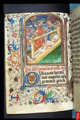 15ème, Livre d'heure du rite de Sarum ( rite anglais avant le schisme anglican). Le style est très proche du style continental dominant.