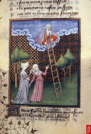 """""""le chemin de longue étude"""" de C. De Pisan, typique du manuscrit français du 15ème. Des modelés, un espace tridimendsionnel maîtrisé, des postures sinueuses et une certaine liberté de proportions. Les cadres et motifs décoratifs sont nombreux et très soignés."""