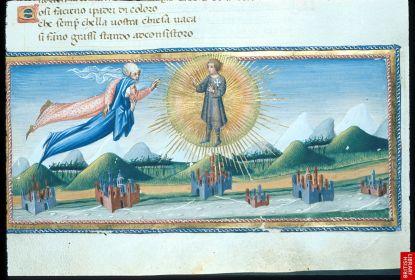 Dans ce manuscrit italien, de la Divine Comédie, on remarque clairement la culture déjà très avancée en italie de la représentation de l'espace, des éléments paysagers et même climatiques ; les couleurs et l'art de l'espace ouvert, repérable chez Fra Angelico par exemple