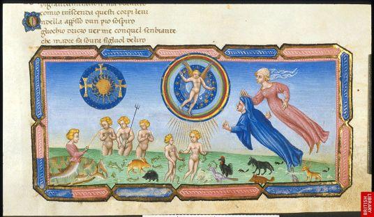 La divine comédie de Dante reste un grand succès ; ici une version lumineuse et idyllique, du paradis sur terre vu parDante et Béatrice.