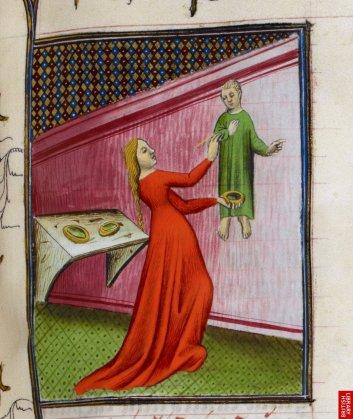 De Boccace toujours, la vie des nobles femmes; ici Irène peignant ; de ce texte,Christine de Pisan tirera argument pour sa cité des femmes.