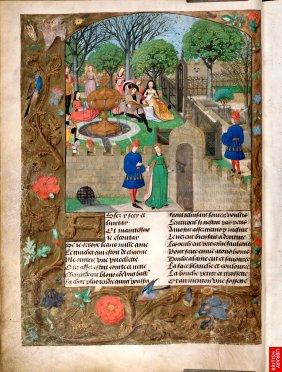 """Une page complète du style """"français"""", version du Roman de la Rose, roman très fameux, mais critiqué par C. De Pisan et Guillaume de Digulleville....On voit clairement la densité des motifs non narratifs, véritables fugues, qui reprennent la tradition des entrelacs de contemplation des manuscrits nordiques."""