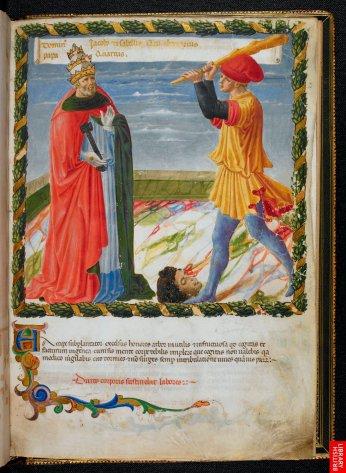 Manuscrit italien du 15ème sur les viies des papes ; ici Jean XXII. Peinture comparable aux  Fra Angelico par la délicatesse descouleurs, des modelés et des cieux. Les signes climatiques ( nuages) sont typique de l'inscription progressive dans une réalité.