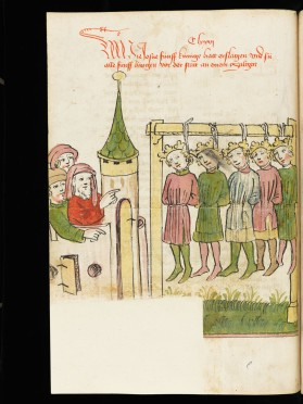 Bible historiée germanique du 15ème. Graphisme et dynamisme des figures.