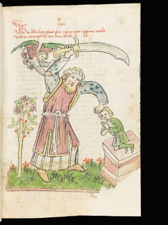 Bible historiée allemande de Diebold Lauber ; 15ème siècle. Style plus direct, graphique, sans digressions. Ici,bien sûr, le sacrifice d' Isaac.