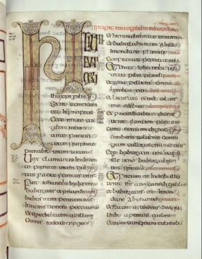 évangiles d'echternach, 8 ou 9ème siècle. Livre susceptible d'être manipulé, mais précieux cependant.