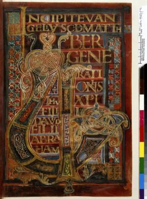 Enluminure typique d'influence nordique, dans latradition du Book of Kells. L'infini des entrelacs dans la forme finie de la lettre. Principe qui se retrouve dans les décorations architecturales préromanes et romanes. Rinceaux, palmettes.