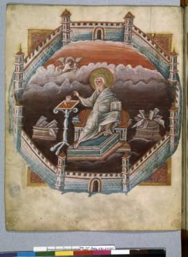 Evangile du 9ème, de type méditerranéen. Presque tous les évangiles mettent en avant, l'auteur du texte plus encore que les scènes d'évangile. Signe clair de reconnaissance de l'écrit et du livre. Le livre et l'écriture sont inspirés.