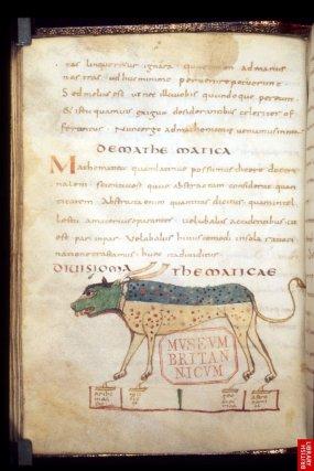 """Encore un texte du 9ème, ce manuscrit tiré de Cassiodore, illustre les 4 """"jambes"""" des mathématiques : géométrie, musique, algèbre et astronomie, d'un savoir puissant qu'il faut tenir en laisse!"""