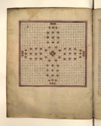 """Version plus ancienne , 9ème siècle de l'une des pages du """"Raban Maur""""."""