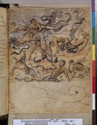Manuscrit méditerranéen typique de la persistance de l'héritage gréco-romain des fresques, du modelé etde l'importance accordée à l'anatomie et à l'autonomie des figures.