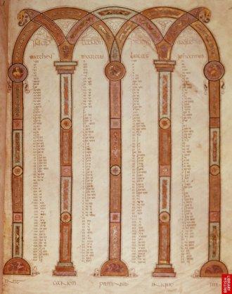 """Evangiles comparés ( synoptiques). De manière claire, les 4 évangiles sont associés aux colonnes, qui sont à la fois cadres, piliers et """"temple"""".Cette présentation sous forme de cadre architecturé est extrèmement fréquente jusque tardivement, bien après le 9e siècle. Isoler ainsi les figures ou les textes, les institue comme repères."""