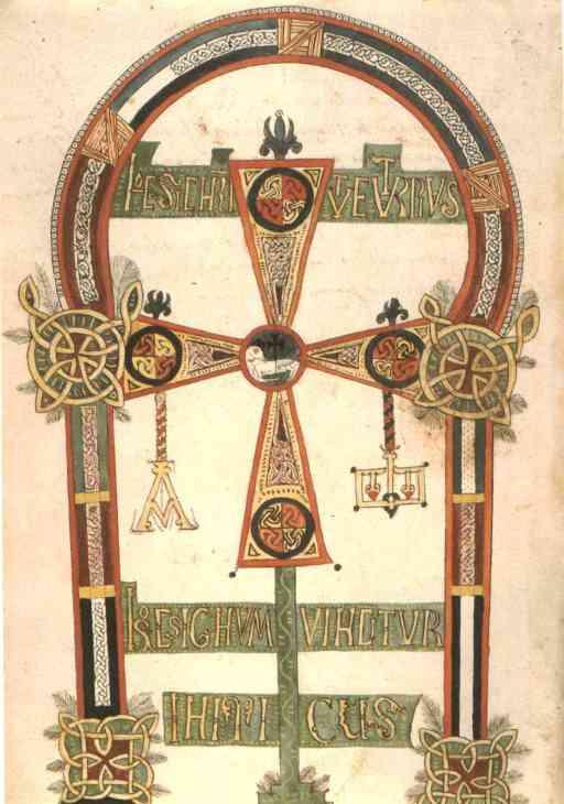 La croix d'Oviedo, inaugure tous les Beatus, signifiant clairement l'inscription dans un espace réel, physique, celui d'Oviedo, choisie comme capitale de résistance aux hérétiques, par Beatus. On remarque sur cette croix, les influences persistantes des écoles nordiques et irlandaises. Alcuin, conseiller de Charlemagne a sans doute formé certains moines asturiens.