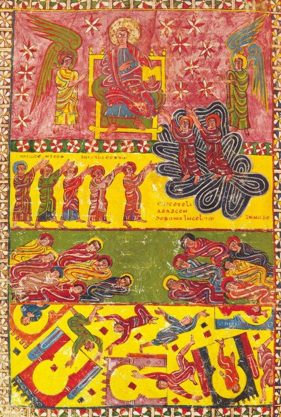 la destruction de Babylone, dans le manuscrit de la Bibliothèque de Pierpont est l'une des versions les plus colorées et les plus intenses. Pièce ancienne, avant le 10e.