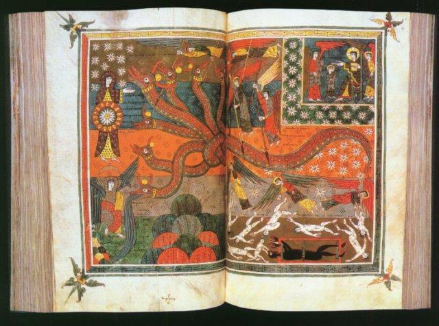 """Les sublimes et exceptionnels manuscrits asturiens, inspirés des commentaires du moine beatus de Liebana, ici un exemplaire de Valcavado du 10e. les grandes peintures pleine pagesont conçues pour être admirées et méditées sur lutrin. Nous développerons le cas des """"Beatus"""" dans la suite de cet article."""