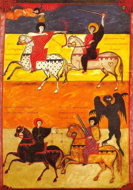 De nouveau le Beatus facundus ; ici les 4 cavaliers de l'Apocalypse ; le cavalier sur son cheval blanc servira vraisemblablement de modèle pour Santiago matamores.