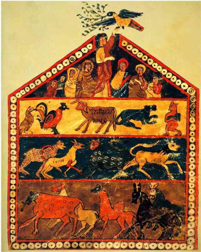 10e s.Beatus de Valcavado ( Valladolid) ; scène du déluge adjointe au commentaires de l'Apocalypse.