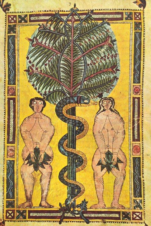 Extraordinaires Adam et Eve, dans le Beatus Facundus, du début 11e. Bien qu'anatomiquement décalés, il y a une humanité incroyable dans leur posture et dans leurs regards.