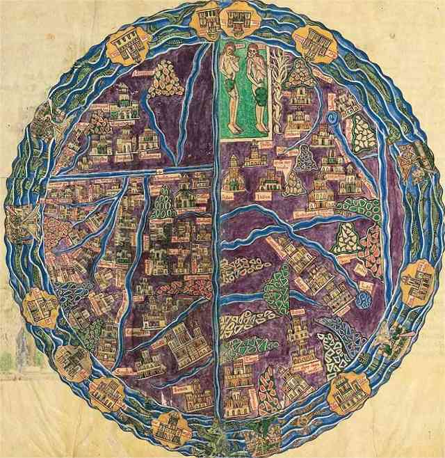 La mappemonde du Beatus de San Andres de Arroyo, unique par sa composition parfaitement circulaire, la où les autres sont en ellipse. Les couleurs naturalistes, sont elles aussi une exception. On repère Adam et Eve dans leur bulle. Noter aussi la double page, qui donne une idée de la dimension de l'oeuvre.