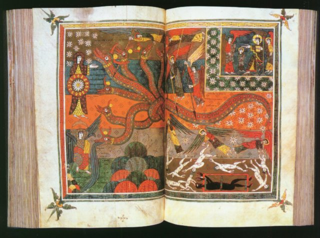 """Les combats multiples de l' Apocalypse, sont autant de modèles pour les guerres religieuses qui confrontent les chrétiens aux musulmans aux 8e et 9e siècle notemment, jusque'à Poitiers bien sûr. Ici Le """"beato Valcavado"""" , une double page d'une densité impressionnante."""
