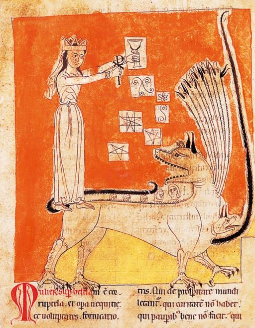 Le seul Beatus portugais, celui de Lorvao..Ici, la prostituée de Babylone comme l'une des figurations allégorique des hérésies multiples de ces siècles troublés.
