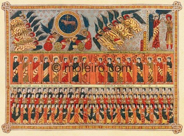 La représentation finale de l'odre enfin trouvé à la suite des dévoilements successifs, servira de modèle aux paradis et royaumes des cieux. Ici, manuscrit de Sto Domingo de Silos, l'un des plus anciens, 9e siècle.