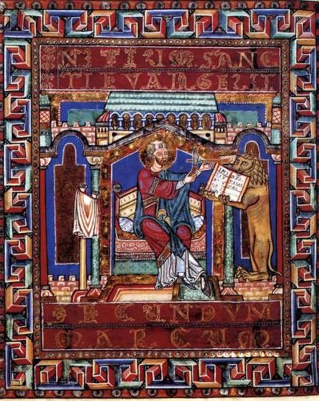 Un missel du 12e. mettant en scène l'évangéliste Marc avec son emblème/totem, le lion. Mais le cadre ainsi que les décors et motifs permettent la pause, la contemplation et la densification de la simple illustration ; il s'agit de charger l'image descriptive d'une valeur irrationnelle.