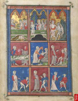 Traité de médecinede Roger Frugard de Parme, 13ème.Les premières vignettes sont tirées des évangiles et enquelque sorte, valident et autorisent lesvignettes suivantes, plus fonctionnelles, codifiant des maladies par des postures.