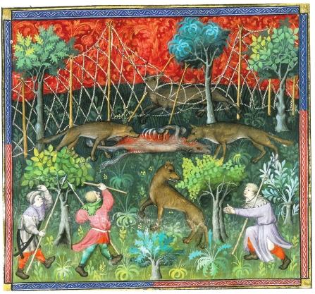 autre version, en couleurs, du traité de chasse de gaston Phebus, ici la chasse au loup. la qualité exceptionelle des illustrations témoigne de l'importance de l'activité ; on atteint pour ce sujet, une densité artistique comparable à celle des bibles et psautiers. La chasse est un privilège aristocratique.