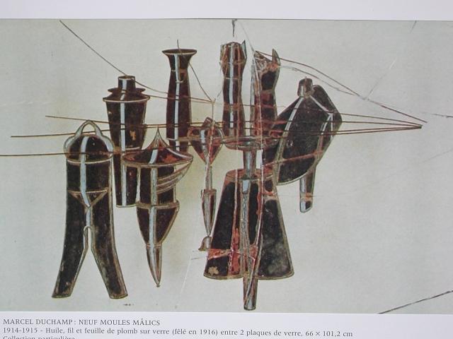 les tiges-tubes qui sortent des carcans-cages, superposés par les brisures des verres...