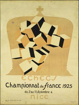 Affiche pour le championnatd'échec de France de 1925 ; on retrouve la théorie et les illustrations de Bragdon.