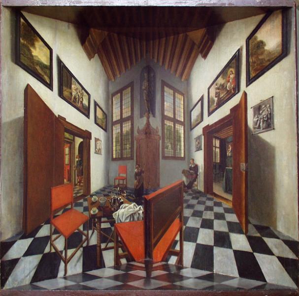 Photographie révélant un dispositif de Elinga( 17e siècle), reposant sur le principe de la boîte, du point de vue monoculaire, du damier, des portes et fenêtres...Duchamp a t-il vu ces boîtes ?