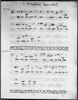page d'erratum musical ; projet qu'il reprend dans Duchamp du Signe,en matérialisant les sons par la chute de boules/points.