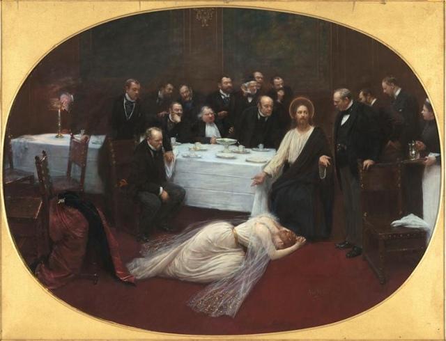 """MarieMagedeleine, vue par béreaud, peintre académique, ou """"l'intruse au club des garçons...""""..ça sent le cigare et les vieilles blagues."""