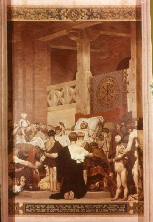 Fresque de laurens, au Panthéon. Autre illustre femme présente - sur les murs- au Panthéon, la sainte Ggeneviève, légitime d'une certaine manière, sur sa colline, mais ici mise en scène de façon édulcorée, accueillant les bons pauvres soumis à la religion, propres, bien coiffés et à genoux...Cette peinture du 19è siècle, est à l'opposé de laradicalité des Misérables ; l'icône féminine est une nouvelle fois réduite à la vierge évaporée et asexuée.