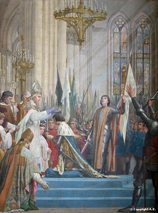 Une femmeau Panthéon, Jeanne d'Arc, récupérée par les nationalistes et cléricaux,honorée par une peinture pompière de l'oublié Lepneveu, est emblématique de l'image des seules vierges et madones admises parmi l'aéropage de mâles dominants gisants dans les cryptes du lieu et roucoulant dans les allées du pouvoir.