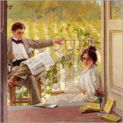 Homme dehors avec le journal, femme avec des romans en intérieur, rêveuse..2 mondes. Gambogi est une peintre finlandaise emblématique de ces thèmes.