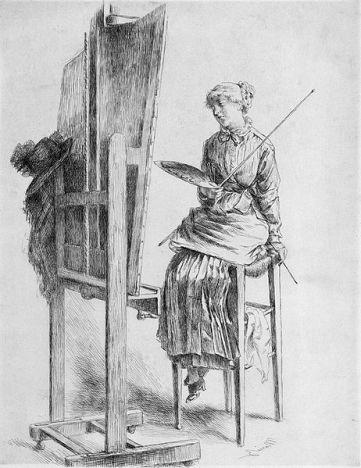 Marie Bracquemond, élève d'Ingres et première femme impressioniste, oubliée dans sa commune natale ( Argenton-29) réalise le passage entre le néo clacissisme et la modernité impressionniste. ici, jeune dans son atelier.